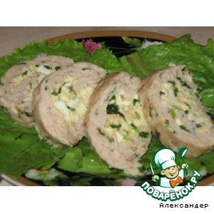 Рецепт Мясной рулет с зеленым луком и яйцом