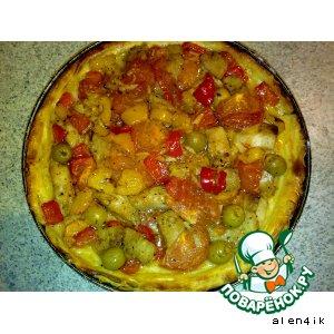 Рецепт Рыбка с овощами в картофельной тарелке