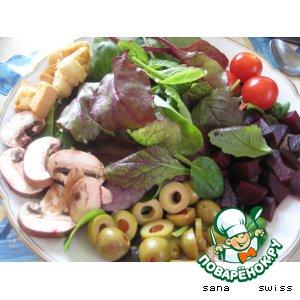 Рецепт Зеленый    салат   с   оливками   и   свеклой