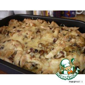 Рецепт Картофель, запечeнный с курицей и грибами
