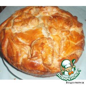 Рецепт Пирог из слоеного теста с красной рыбой и картошкой