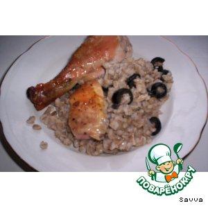 Рецепт Курица, фаршированная перловой кашей и маслинами