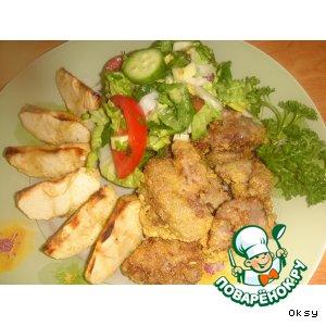 Рецепт Куриная печенка в кукурузной панировке с запеченными под грилем яблоками