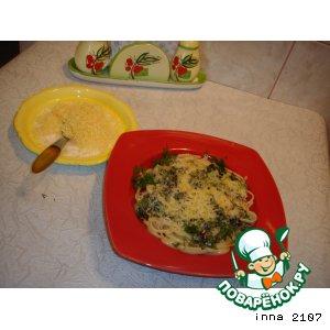 Рецепт Спагетти под соусом из зеленого лука с мятой