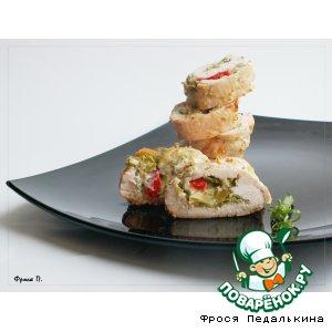 Рецепт Куриный рулет с зеленой фасолью и горчицей