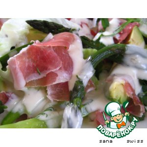 "Рецепт Салат    из   авокадо,   спаржи   и   вяленого   мяса   с   соусом   ""roquefort"""