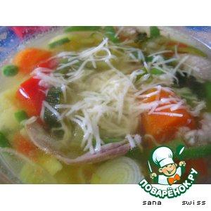 """Рецепт Весенний   суп   с   кабачками   и   """"пармезаном"""""""