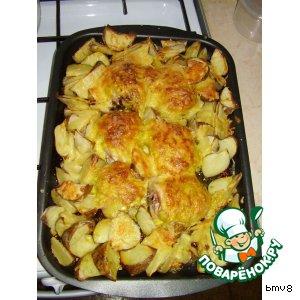 куриное бедро в духовке с картошкой