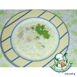 Рецепт Сырный суп с луком-пореем