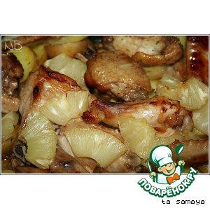 Рецепт Куриные крылышки с медовой корочкой, запеченные с картофелем и ананасами
