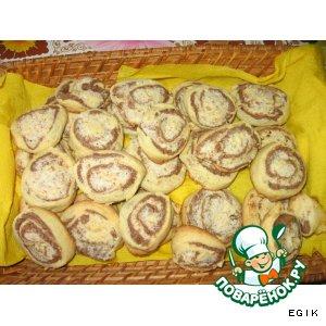 """Рецепт Шоколадно-ванильное печенье с орехово-кокосовой начинкой """"Полосатое солнышко"""""""