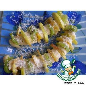 """Рецепт Десерт """"Банановые кораблики с фруктами"""""""