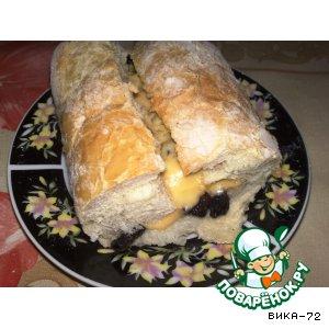 Рецепт Горячий бутерброд с грибами