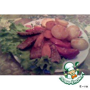 """Рецепт Мясо тушeное с овощами в соусе """"ткемали"""""""