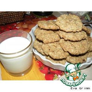 Рецепт Овсяное печенье с орехами, молочным шоколадом и изюмом