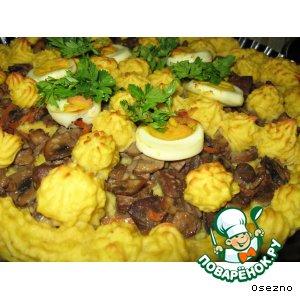 Рецепт Запеканка с печенью и грибами