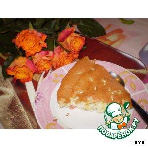 Рецепт Бисквитный пирог с ревенем и бананом
