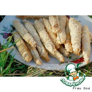 Рецепт Хрустящие сырные палочки с кунжутом