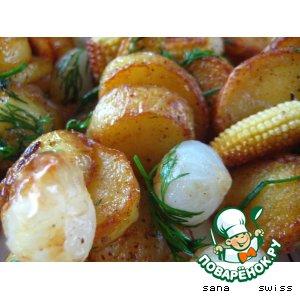 Рецепт Картофель   с   маринованым   луком   и    кукурузой