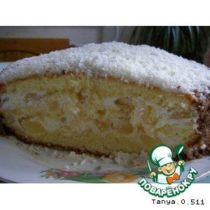 Рецепт Бисквитный тортик с ананасами