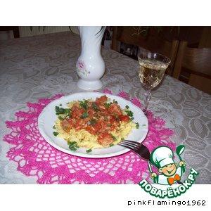 Рецепт Томатен спагетти под нежным соусом с тунцом и каперсами