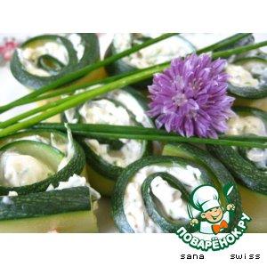 Рецепт Кабачковые   роллы   с   сыром   и   зеленью