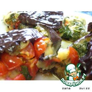 Рецепт Баклажаны,   фаршированные   сыром   и   овощами