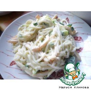 Салат с кальмаром и рисовой лапшой домашний рецепт с фото как готовить