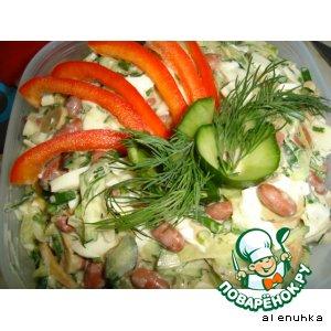 Рецепт Салат из фасоли с грибами