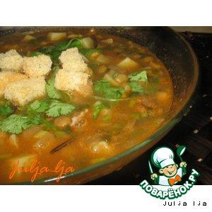 Рецепт Густой томатный суп с чечевицей и кабачками