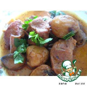 Рецепт Свинина,   тушеная   с   каштанами    и   грибами