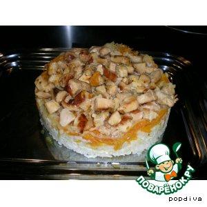 """Рецепт Вкусная рисовая каша с курицей-тортик """"А-ля плов"""""""