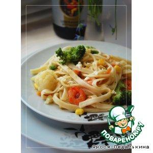 Рецепт Лапша с овощами и креветками