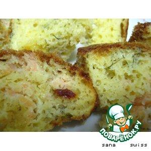 Рецепт Кекс   с    семгой,   томатами   и   зеленью