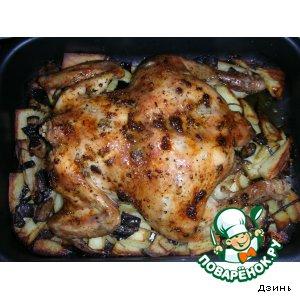 Рецепт Запеченая чесночная курица с гарниром