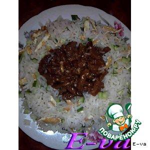 Рецепт Сладкое ананасовое мясо с почти азиатским рисом