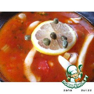 Рецепт Томатный   суп   с   кальмарами