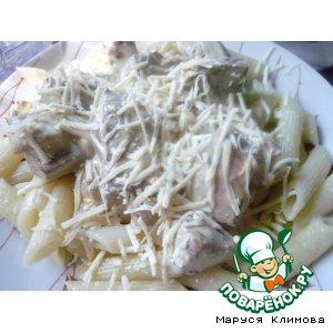 Рецепт Тушеная печень с грибами