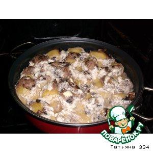 Рецепт Картофель фаршированный фаршем, жареными грибами и луком запеченый