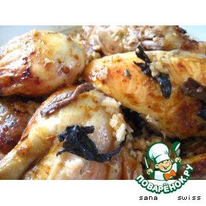 Рецепт Курица,   запеченая   в   соусе   песто   с   грибами   и   рисом