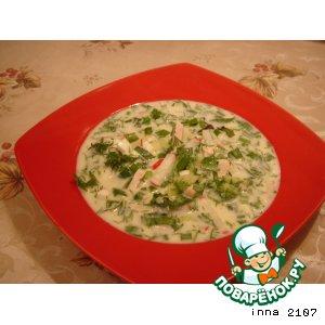 Рецепт Окрошка на кефире с курицей и шпинатом
