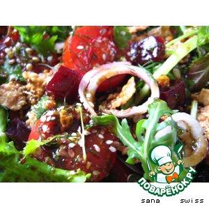 Рецепт Фитнесс -  салат   с   семечками   и   кукурузными   хлопьями