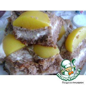 Рецепт Шоколадное пирожное с персиково-творожной начинкой