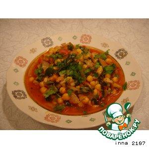 Рецепт Нут с грибами и шпинатом