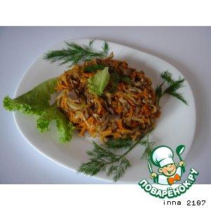 Рецепт Теплый салат из куриных желудков
