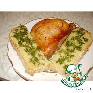 Рецепт Куриные окорочка в соевом соусе с гренками