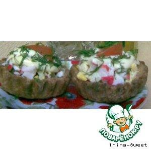 Рецепт Сырные корзиночки с салатиком
