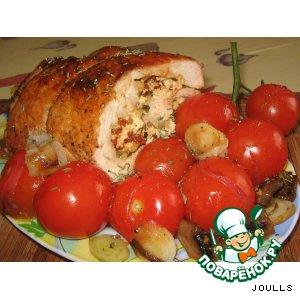 Рецепт Рулет из индейки с овощами с пикантной творожной начинкой