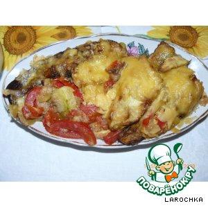 Рецепт Кабачки с помидорами , запечeнные под сыром