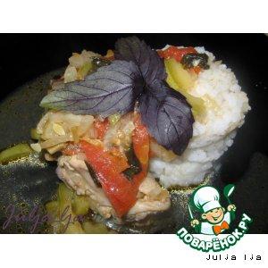 Рецепт Курица с кабачками, томатами и базиликом
